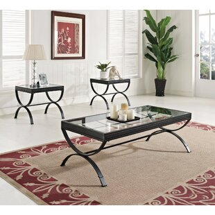 Winston Porter Fortner Glass Coffee Table Set (Set of 3)