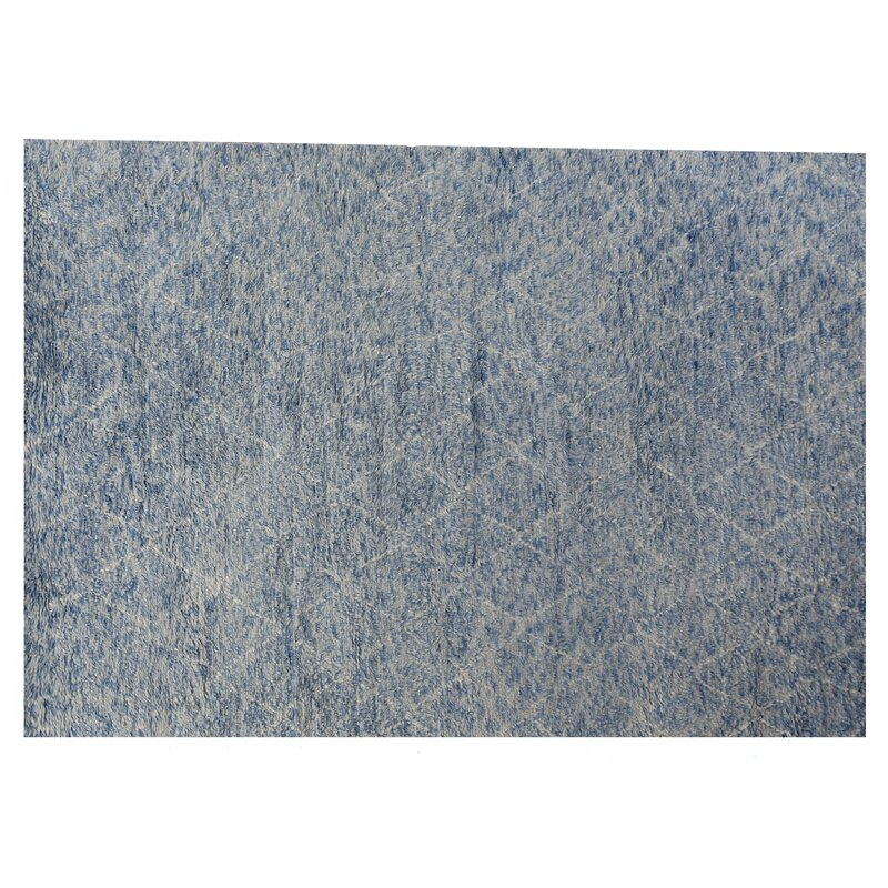 Exquisite Rugs Moroccan Geometric Hand Knotted Wool Blue Gray Area Rug Perigold