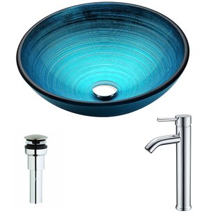 ANZZI Enti Glass Circular Vessel Bathroom Sink with Faucet