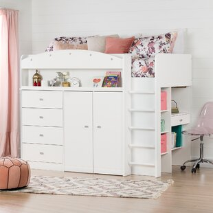 Tiara Twin Low Loft Bed with Bookcase by South Shore