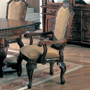 Filippo Wooden Upholstered Dining Chair (Set of 2) Astoria Grand
