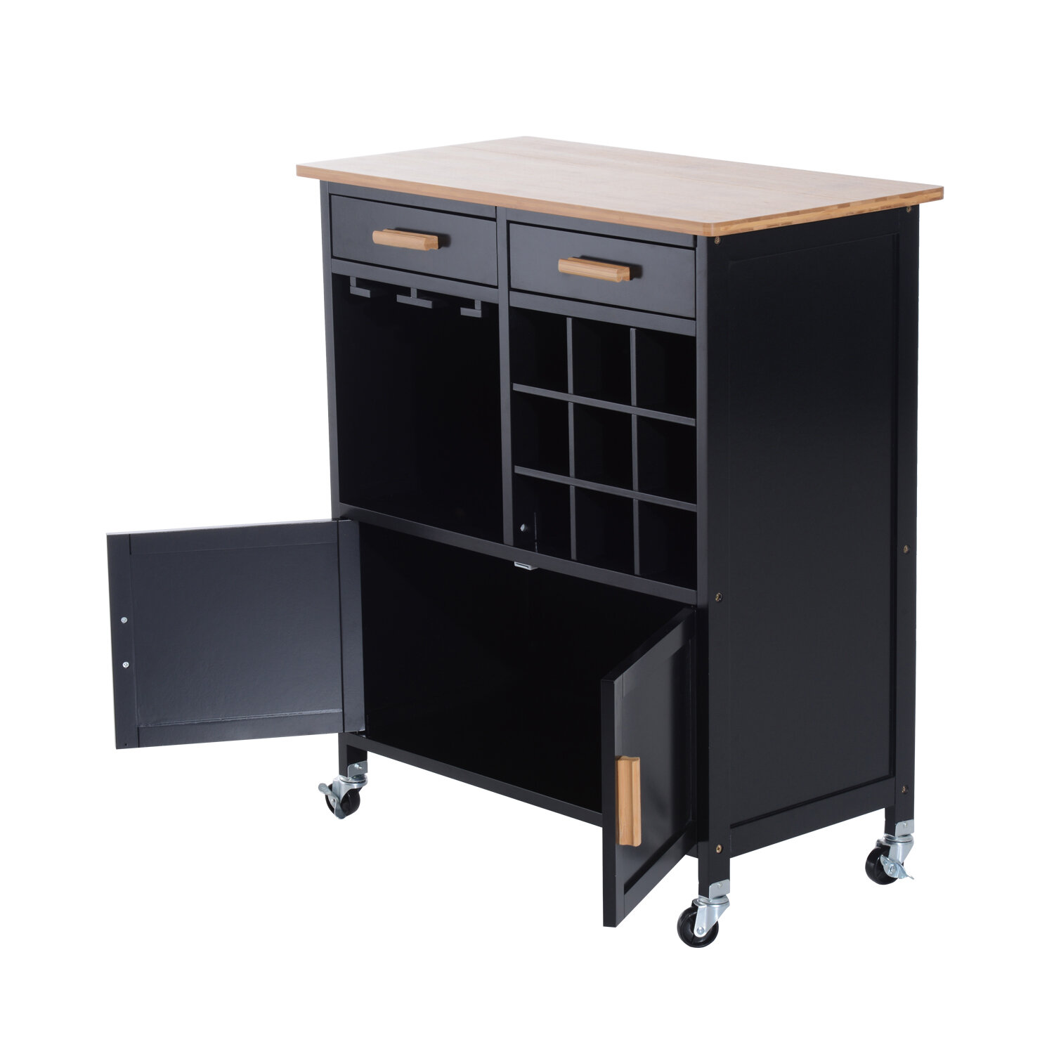 Hilyard Portable Trolley Kitchen Cart With Bamboo Top Storage Cabinet And Wine Rack