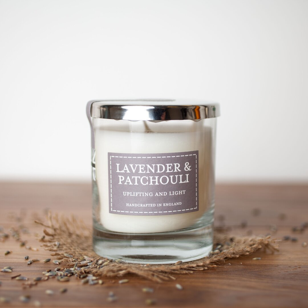Lavender and Patchouli Scented Glass Candle