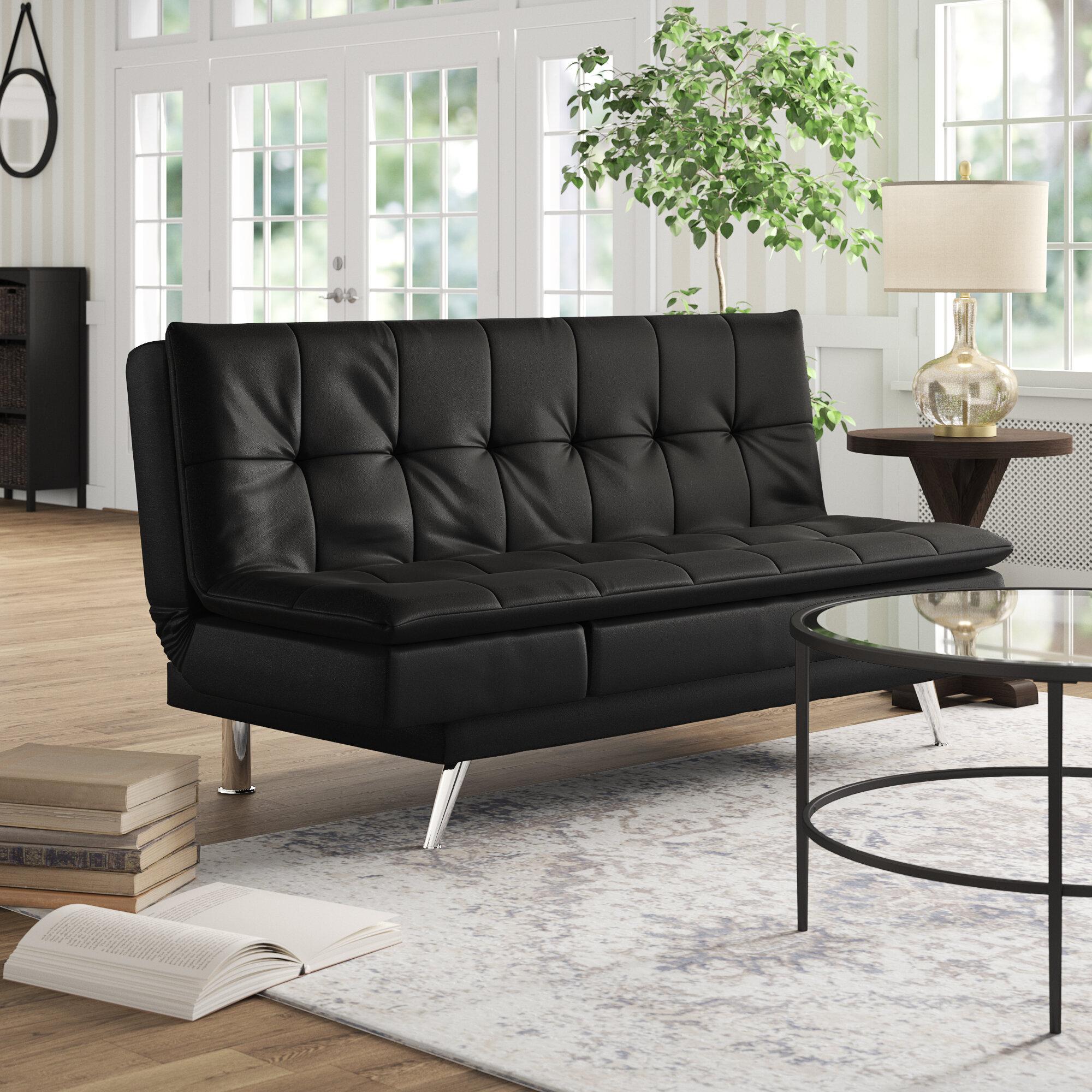 Latitude Run Black Leather Sleeper Sofa & Reviews | Wayfair