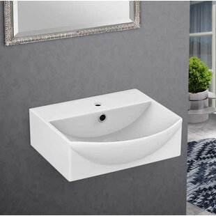 American Imaginations Ceramic U-Shaped Bathroom Sink with Faucet and Overf..