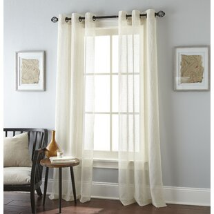 Linden Solid Color Semi-Sheer Grommet Curtain Panel (Set of 2) by Nanshing America, Inc