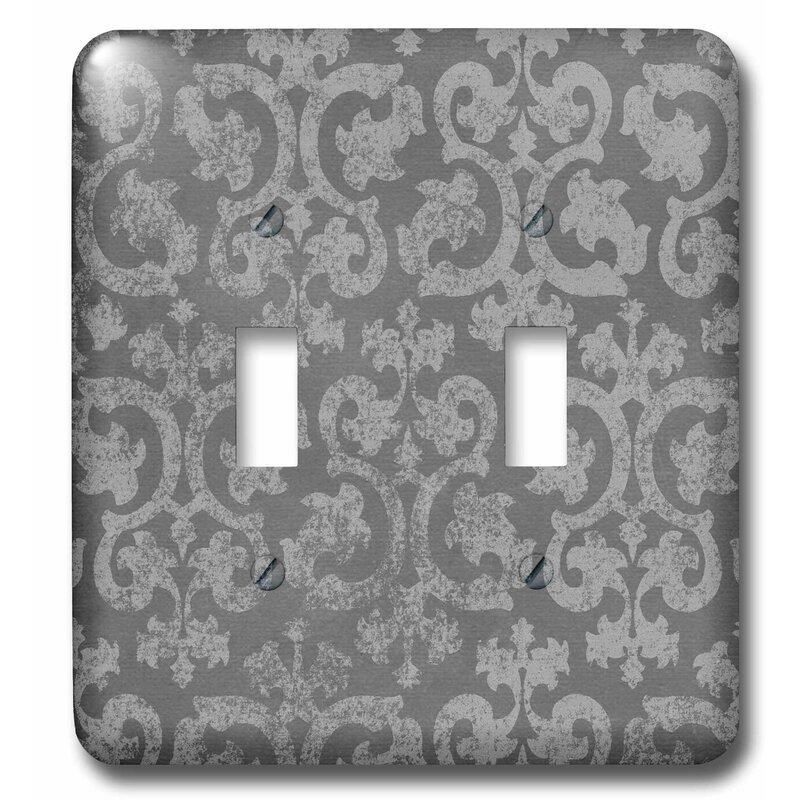 3drose Grunge Damask Faded Antique Swirls Wallpaper Fancy Swirling Pattern 2 Gang Toggle Light Switch Wall Plate Wayfair