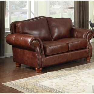 Shop Battista Premium Leather Loveseat by Darby Home Co