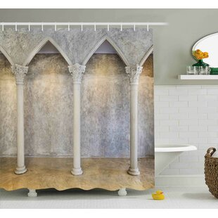 Kathy Antique Theme Classic Ancient Interior With Columns Digital Image Shower Curtain by Ebern Designs