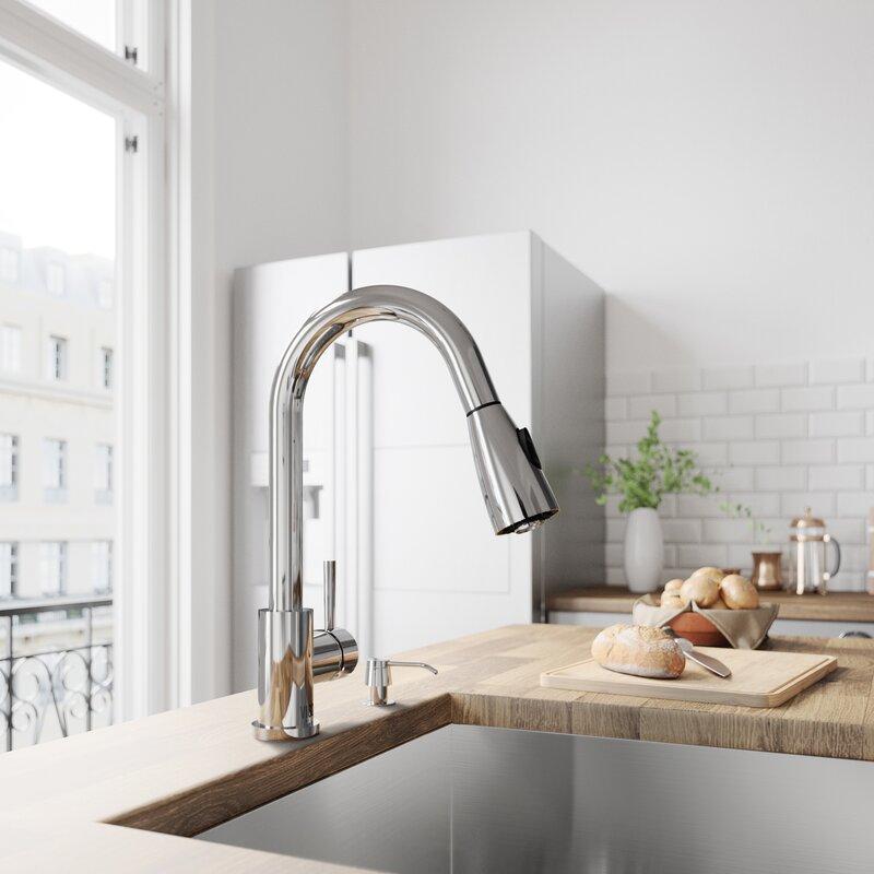 VIGO Weston Pull Down Single Handle Kitchen Faucet with Optional ...