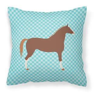 Horse Check Canvas Outdoor Fabric Throw Pillow by East Urban Home Wonderful