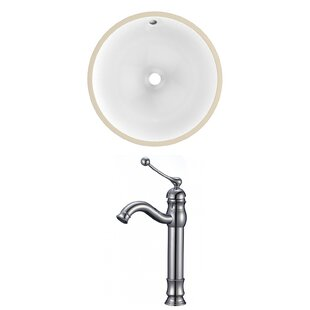 Deals CUPC Ceramic Circular Undermount Bathroom Sink with Faucet and Overflow ByAmerican Imaginations