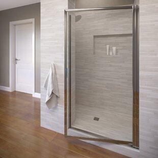 Deluxe 34.88 x 67 Pivot Framed Single Swing Shower Door