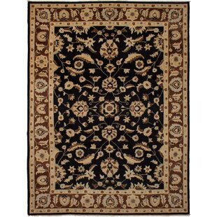 Compare One-of-a-Kind Eirwen Hand-Knotted Wool Black Area Rug By Isabelline