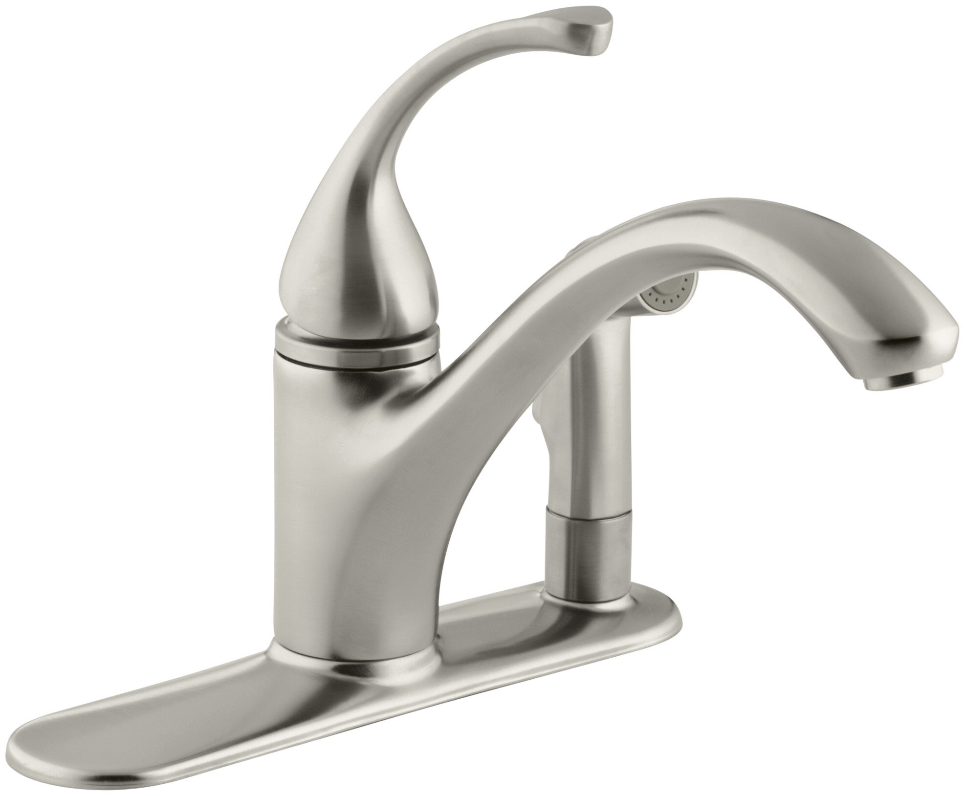 Kohler Forte 3 Hole Kitchen Sink Faucet With 9 1 16 Spout With Matching Finish Sidespray In Escutcheon Reviews Wayfair