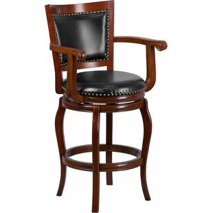 Darby Home Co Matheson 30'' Panel Back Swivel Bar Stool