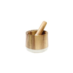 Review Elements 2 Piece Marble/Acacia Mortar and Pestle Set By Tablecraft