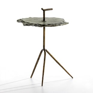 Lorsworth Metal And Stone Side Table By World Menagerie