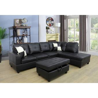 Andover Mills Russ 103 5 Wide Faux Leather Sofa Chaise With Ottoman Reviews Wayfair