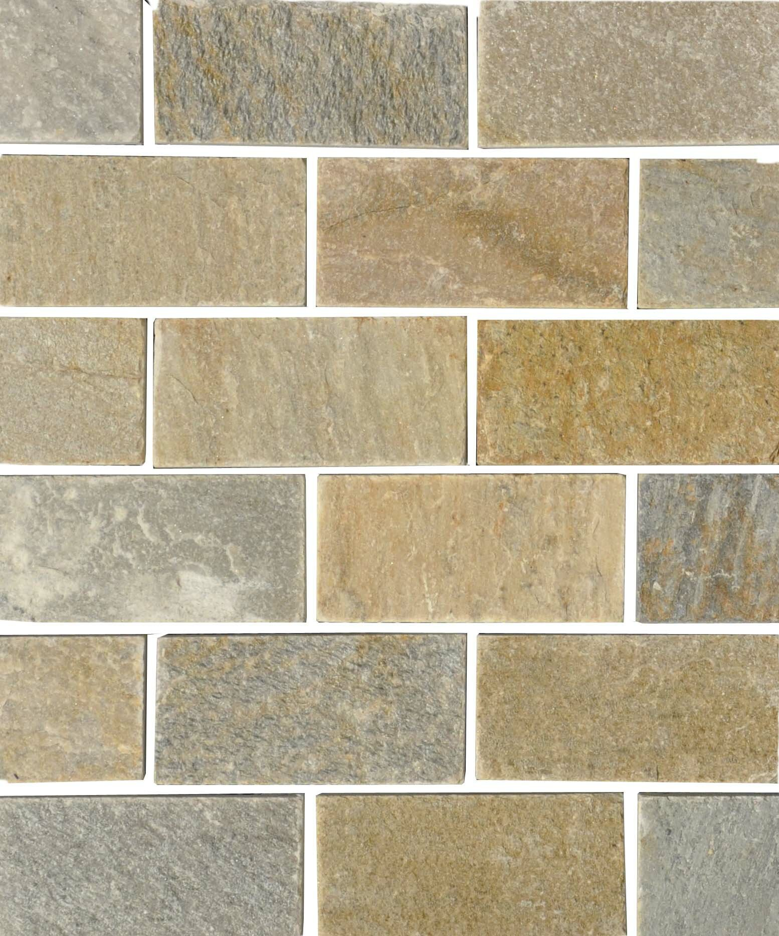 The Bella Collection Century 2 X 4 Quartzite Stone Subway Tile In