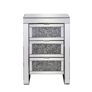 Uriel Crystal 3 Drawer Nightstand