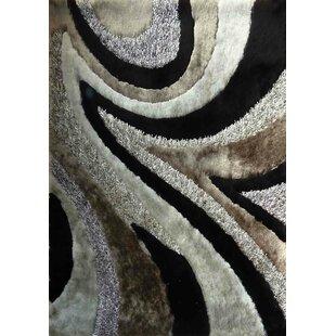 Shaggy Viscose Design Gray/Black Area Rug ByRug Factory Plus