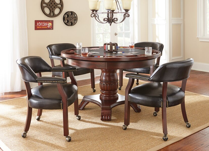 Red Barrel Studio McBride Dining-Game Poker Table (Black)