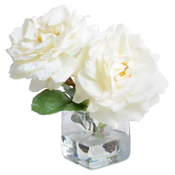 New Growth Designs Faux Rose Flower In Vase Reviews Wayfair
