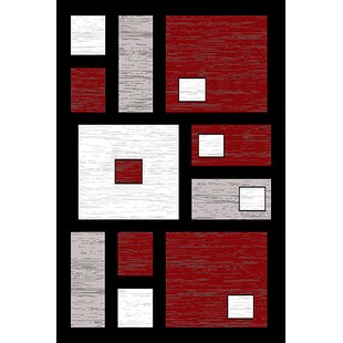 Inexpensive Coursey Red/Black Area Rug By Ebern Designs