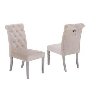 Manahan Tufted Velvet Upholstered Dining Chair Set of 2 by Rosdorf Park
