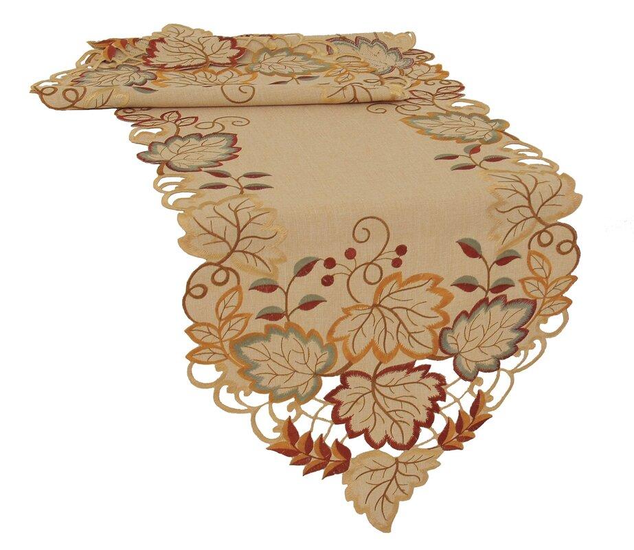 Harvest Verdure Embroidered Cutwork Fall Table Runner