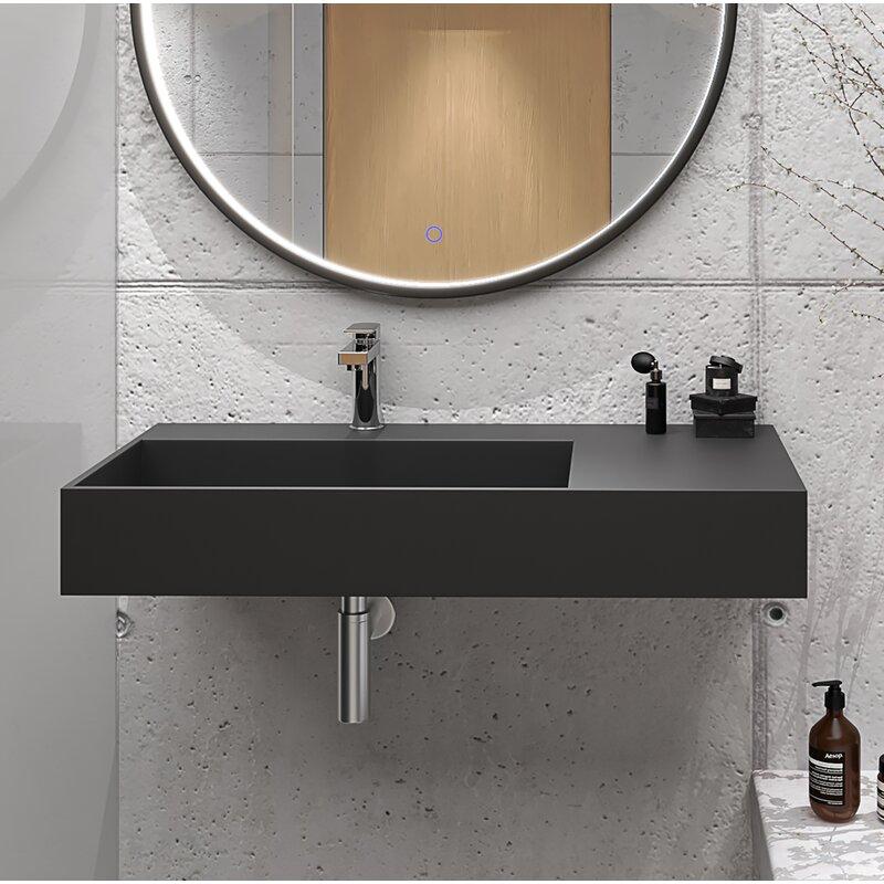 Orren Ellis Boyter Stone Rectangular Wall Mount Bathroom Sink Reviews Wayfair