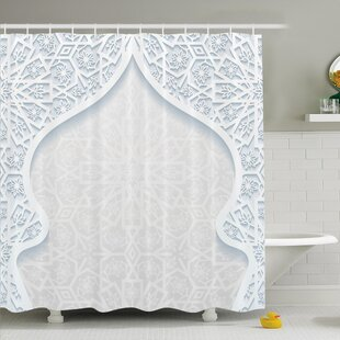 Traditional House Arabesque Arched Royal Persian Figure with Floral Cultural Graphic Shower Curtain Set