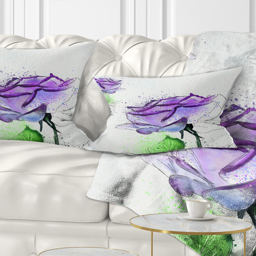 East Urban Home Floral Rose Flowers With Leaves Lumbar Pillow Wayfair