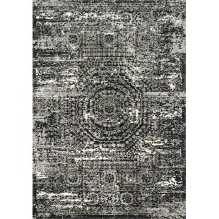 Read Reviews Binette Graphite/Black Area Rug By World Menagerie