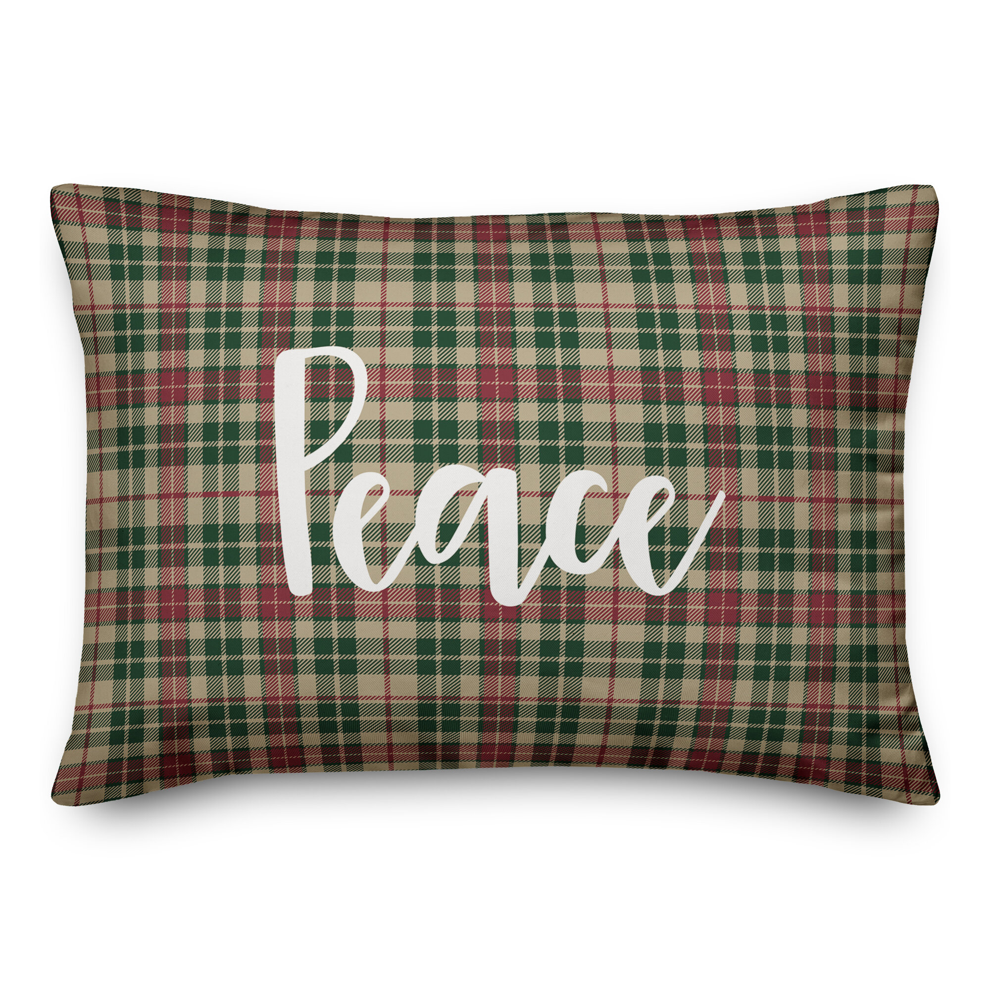 The Holiday Aisle Gourdine Peace In Tartan Plaid Lumbar Pillow Wayfair