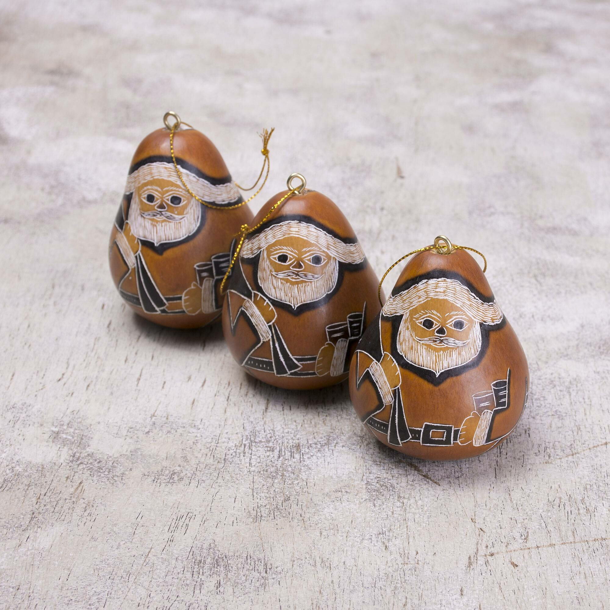 The Holiday Aisle Sweet Father Christmas Dried Mate Gourd Hanging Figurine Ornament Wayfair