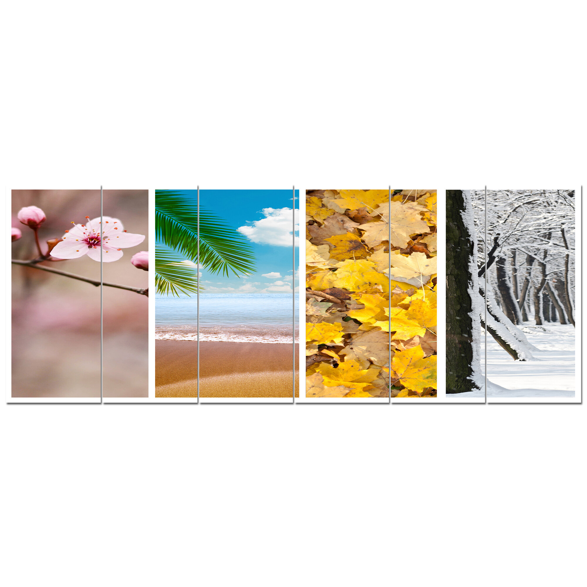 Designart Four Seasons World Collage 6 Piece Photographic Print Set On Canvas Wayfair