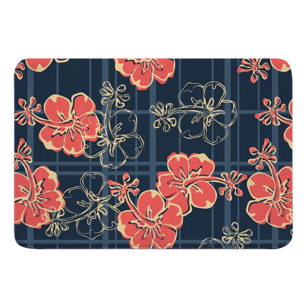 Bay Isle Home Sproule Hibiscus Plaid Rectangle Memory Foam Floral Bath Rug Wayfair