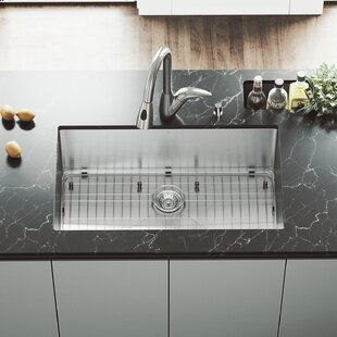 VIGO 32 inch Undermount Single Bowl 16 Gauge Stainless Steel Kitchen Sink with Romano Stainless Steel Faucet, Grid, Strainer and Soap Dispenser
