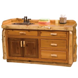 Traditional Cedar Log 60″ Bathroom Vanity Base