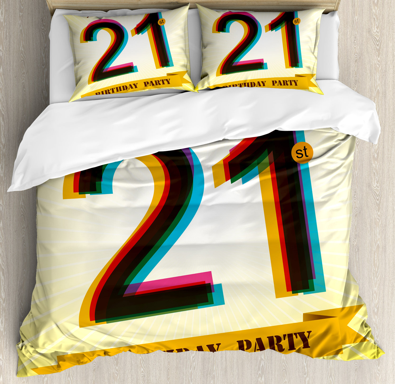 Ambesonne 21st Birthday Decorations Invitation To An Amazing Party On Golden Backdrop Image Duvet Cover Set