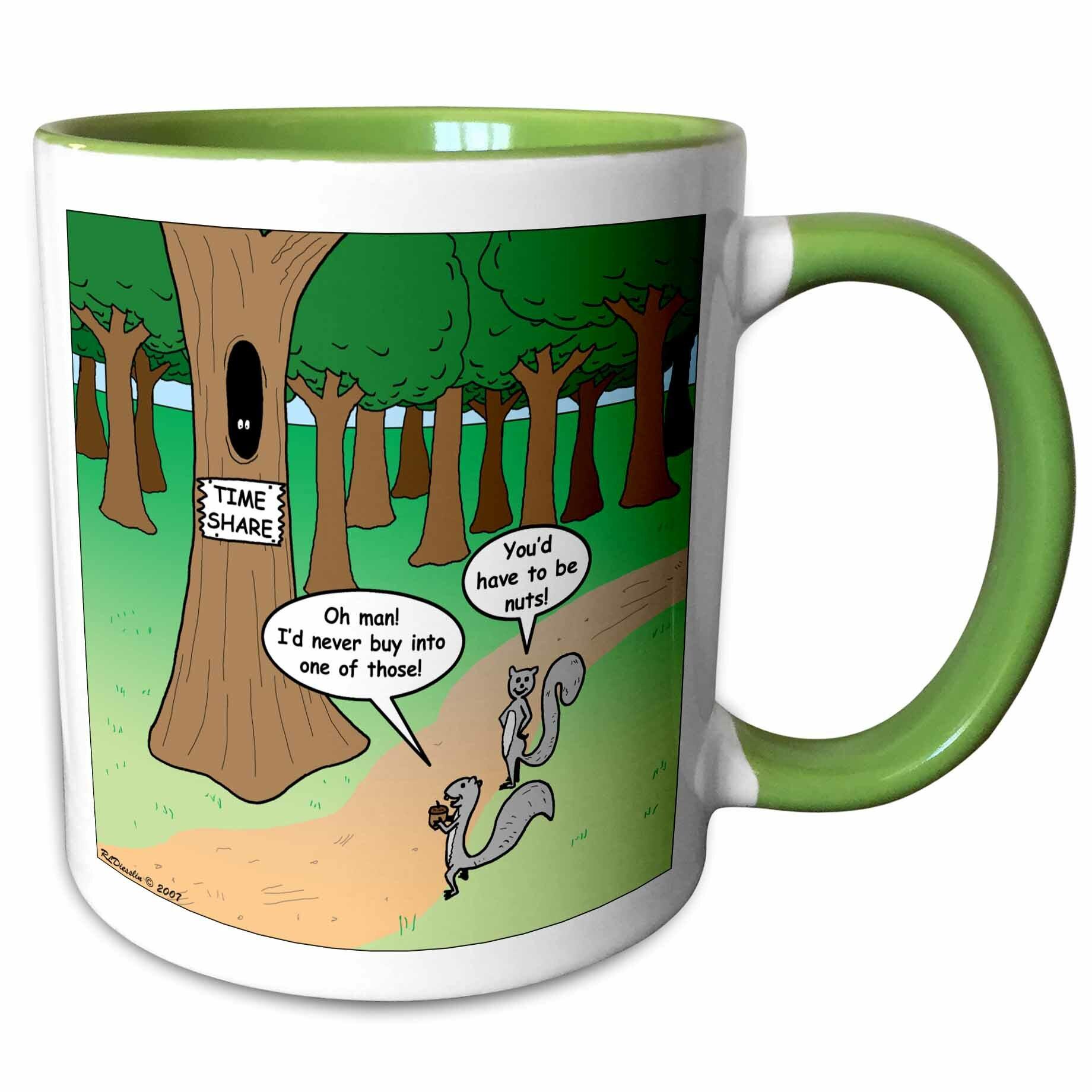 East Urban Home Elmhur Squirrel And Bird Time Share Cartoon Coffee Mug Wayfair