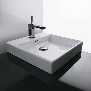 square bathroom sinks. Plain Ceramic Square Vessel Bathroom Sink with Overflow Modern Sinks  AllModern