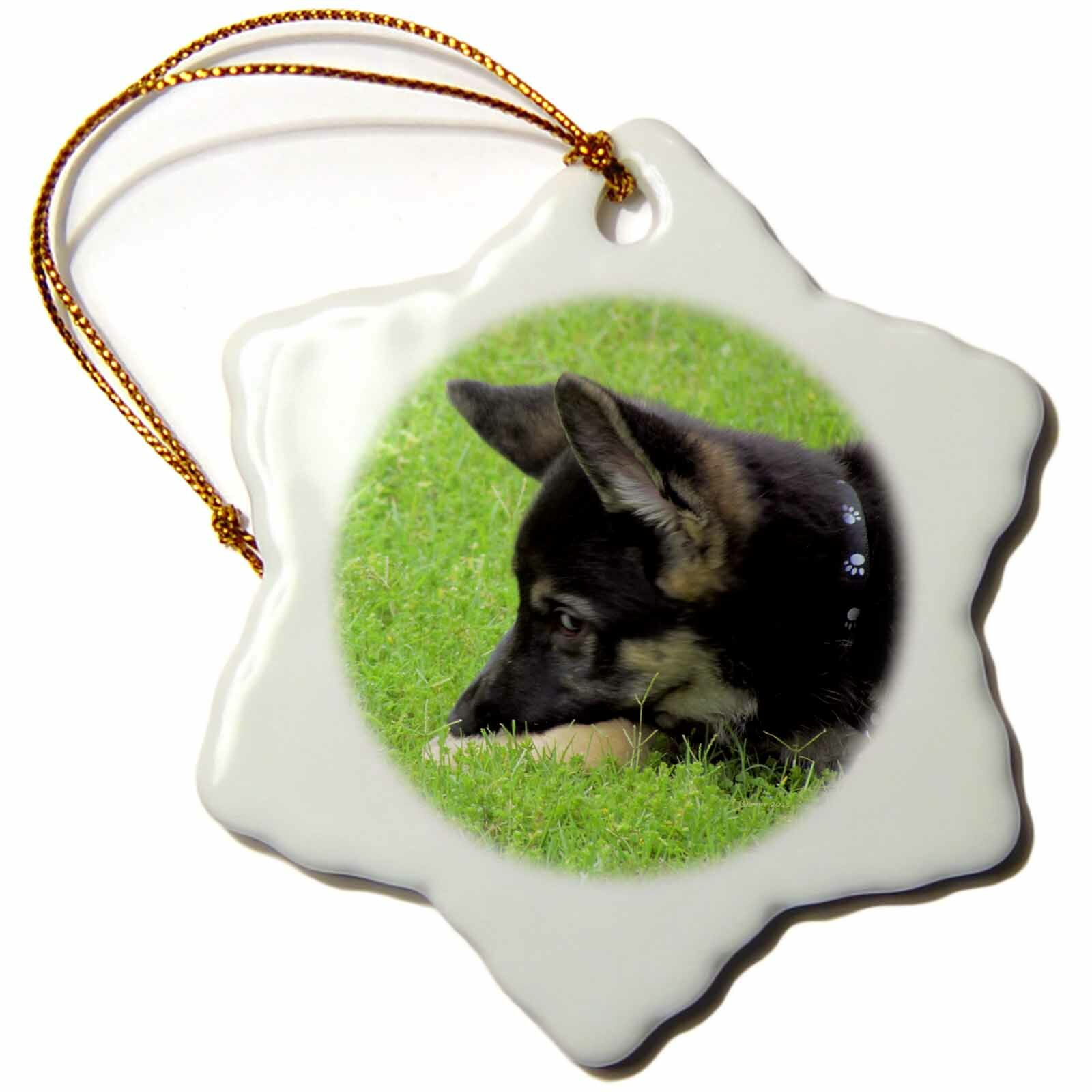 The Holiday Aisle German Shepherd Puppy Holiday Shaped Ornament Wayfair
