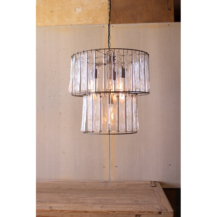 Woen Two Tiered Round 4 Light Drum Pendant