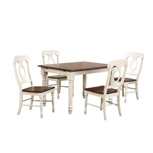 Kenya Butterfly Leaf 5 Piece Breakfast Nook Solid Wood Dining Set August Grove