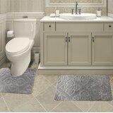Bolte Non-Slip Safety Water Absorbent Soft 2 Pieces Bath Mat Floor Mat Set, Regular Size, Black Colour