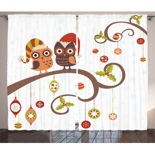 Darrian Owls on ated Twiggy Tree Branches Annual Yule Noel Christmas Themed Graphic Print & Text Semi-Sheer Rod Pocket Curtain Panels (Set of 2) by Harriet Bee