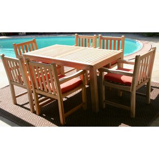 Caracas 7 Piece Teak Dining Set with Sunbrella Cushions by IKsunTeak